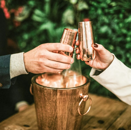 Champagne Flutes With Ice Bucket