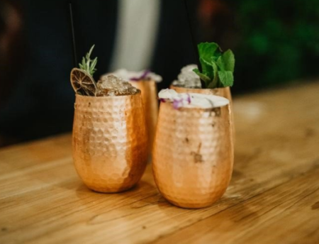 Copper Glasses With Drinks