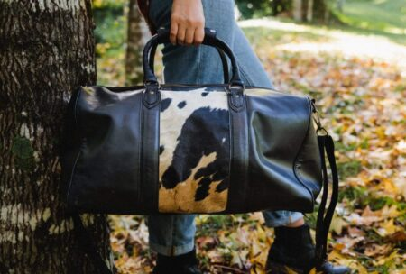 Beckwith Duffle Hide Panel Black White 1